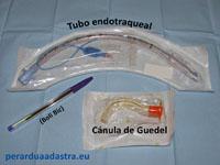 Tubo endotraqueal y cánula de Guedel