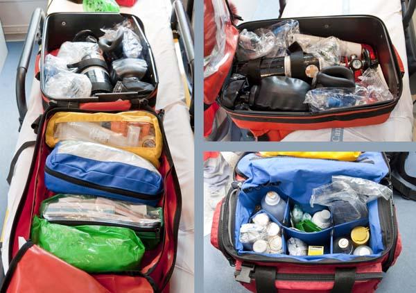 Contenido de distintas mochilas para primera intervención
